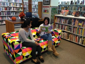 IKEA couch with two of our great Teen volunteers